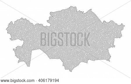 Polygonal Mesh Map Of Kazakhstan In High Resolution. Mesh Lines, Triangles And Points Form Map Of Ka