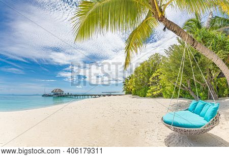 Tropical Beach Background As Summer Landscape With Beach Swing Or Hammock And White Sand And Calm Se