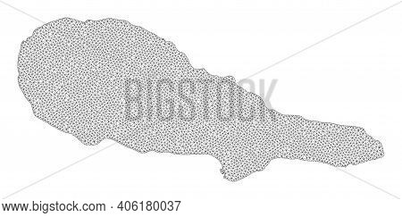 Polygonal Mesh Map Of Pico Island In High Detail Resolution. Mesh Lines, Triangles And Points Form M