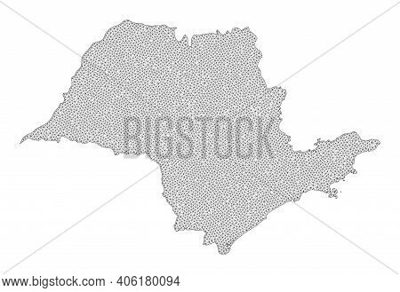 Polygonal Mesh Map Of Sao Paulo State In High Resolution. Mesh Lines, Triangles And Points Form Map
