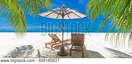 Romantic Beach Scenery, Summer Vacation Or Honeymoon Background. Travel Adventure Sunset Landscape O