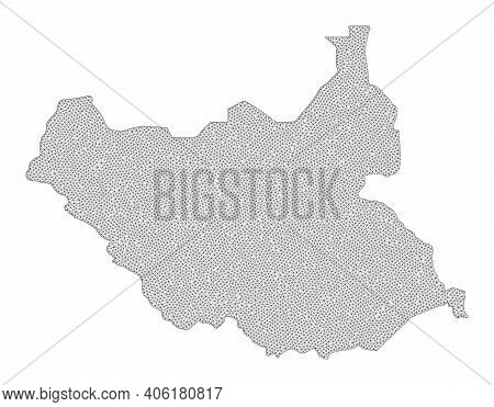 Polygonal Mesh Map Of South Sudan In High Detail Resolution. Mesh Lines, Triangles And Dots Form Map
