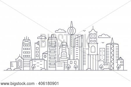 Panorama Of A Big City Metropolis With Modern Buildings And Skyscrapers In A Linear Style. Vector Il