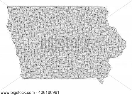 Polygonal Mesh Map Of Iowa State In High Detail Resolution. Mesh Lines, Triangles And Dots Form Map