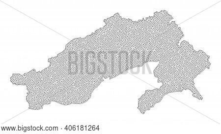 Polygonal Mesh Map Of Arunachal Pradesh State In High Resolution. Mesh Lines, Triangles And Points F