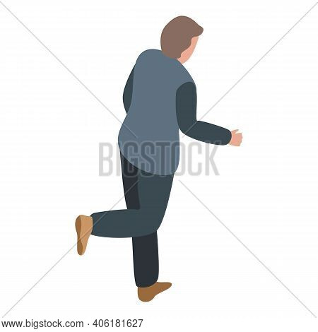 Running Scared Man Icon. Isometric Of Running Scared Man Vector Icon For Web Design Isolated On Whit