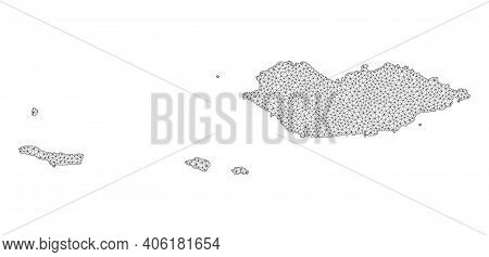 Polygonal Mesh Map Of Socotra Archipelago In High Detail Resolution. Mesh Lines, Triangles And Dots