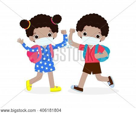Back To School For New Normal Lifestyle Concept  Kids Elbow Bump Greeting To Avoid The Spread Of Cor