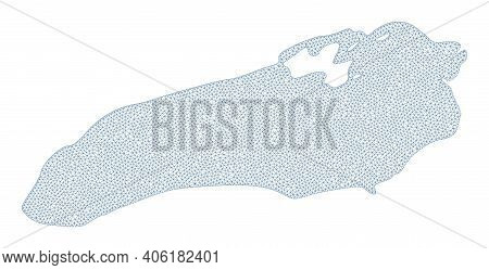 Polygonal Mesh Map Of Ontario Lake In High Detail Resolution. Mesh Lines, Triangles And Dots Form Ma