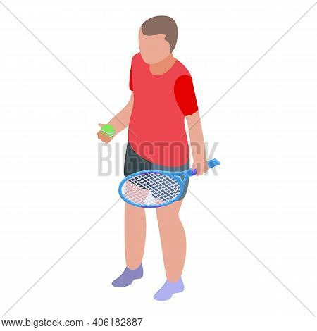 Sport Tennis Player Icon. Isometric Of Sport Tennis Player Vector Icon For Web Design Isolated On Wh