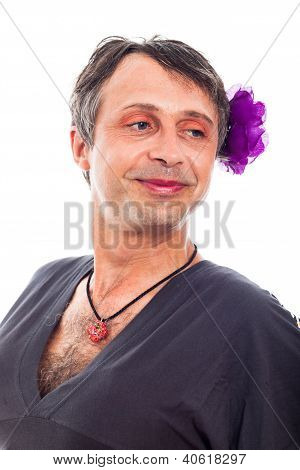 Transvestite Man Smiling