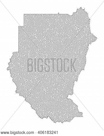 Polygonal Mesh Map Of Sudan In High Resolution. Mesh Lines, Triangles And Points Form Map Of Sudan.