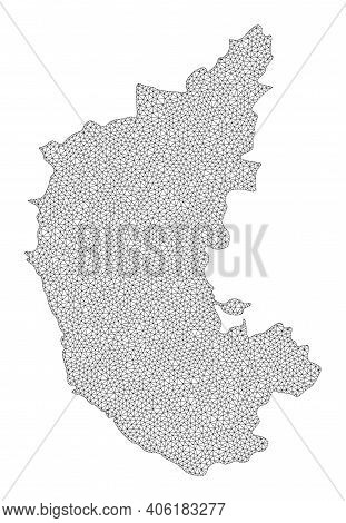 Polygonal Mesh Map Of Karnataka State In High Resolution. Mesh Lines, Triangles And Points Form Map