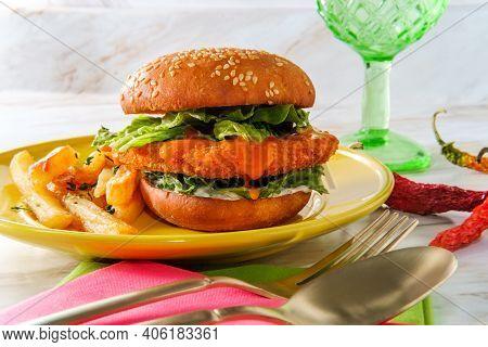 Spicy Crispy Buffalo Chicken Sandwich With Fries Fancy Fast Food Dinner