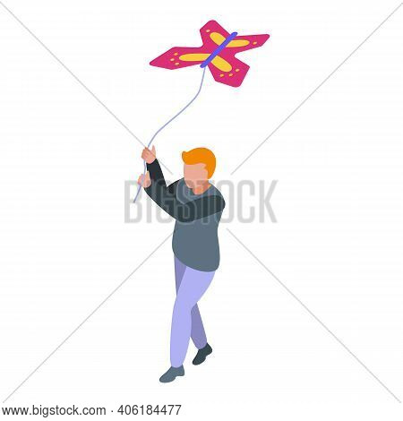 Child Fly A Kite Icon. Isometric Of Child Fly A Kite Vector Icon For Web Design Isolated On White Ba