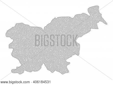 Polygonal Mesh Map Of Slovenia In High Detail Resolution. Mesh Lines, Triangles And Points Form Map