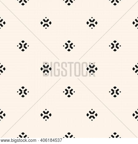 Vector Minimalist Background. Simple Geometric Seamless Pattern With Small Floral Silhouettes, Diamo