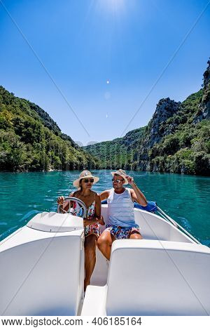 Cliffy Rocks Of Verdon Gorge At Lake Of Sainte Croix, Provence, France, Provence Alpes Cote D Azur,