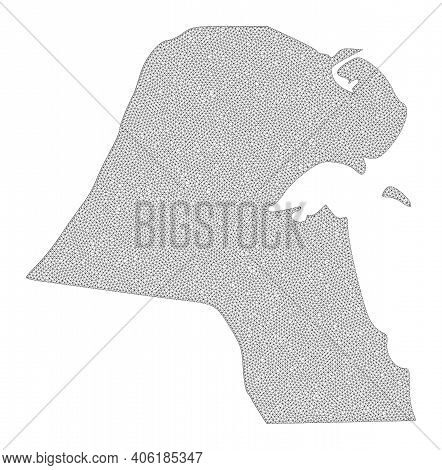 Polygonal Mesh Map Of Kuwait In High Detail Resolution. Mesh Lines, Triangles And Dots Form Map Of K