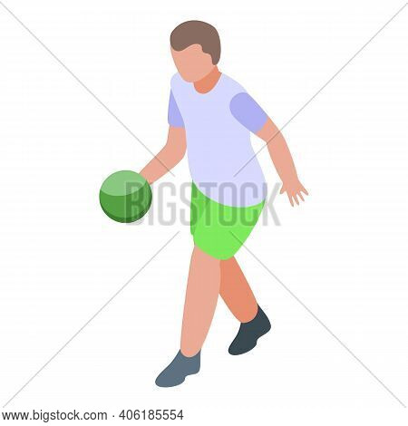 Relax Playing Bowling Icon. Isometric Of Relax Playing Bowling Vector Icon For Web Design Isolated O
