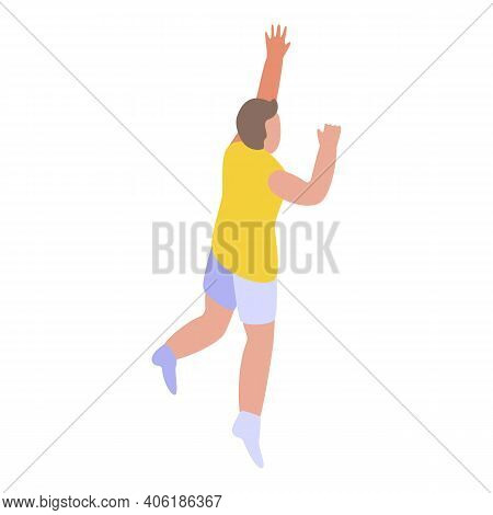Teen Playing Volleyball Icon. Isometric Of Teen Playing Volleyball Vector Icon For Web Design Isolat