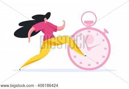Female Sprinter Smiling And Running Race. Flat Vector Illustration