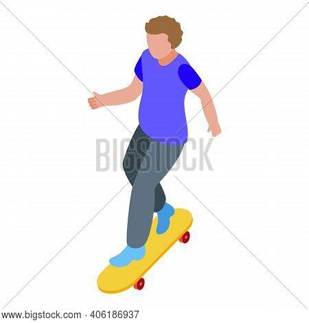 Kid Skateboarding Icon. Isometric Of Kid Skateboarding Vector Icon For Web Design Isolated On White