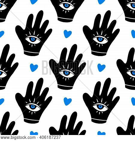 Decorated Hand With Blue Eye Symbol And Heart Vector Seamless Pattern Background. Intuition, Spiritu