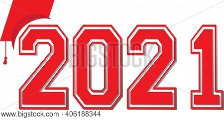 Red Class Of 2021 Graphic Banner With Graduation Cap