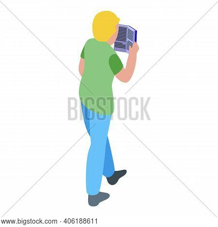 Young Man Reading Icon. Isometric Of Young Man Reading Vector Icon For Web Design Isolated On White