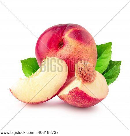 Ripe Fresh Nectarine Fruit And Half Nectarine Fruit Isolated Over White Background.