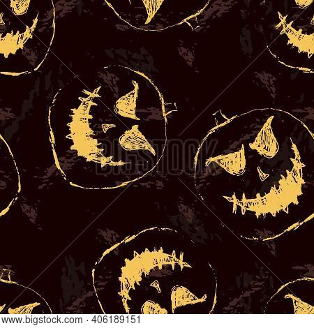 Halloween Pattern. Vector Seamless Abstract Background With Scary Pumpkins, Ghosts, Jack O Lantern S