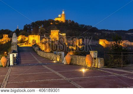 Night View Of Ruins Of The Capital City Of The Second Bulgarian Empire Medieval Stronghold Tsarevets
