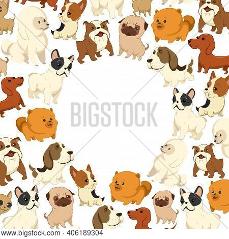 Cute Cartoon Dog Vector Pattern. Pets Of Different Breeds. Funny Little Puppies On A White Backgroun