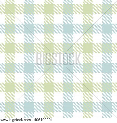 Pastel Blue And Green Seamless Plaid Pattern, Vector Illustration. Seamless Tartan Pattern With Blue