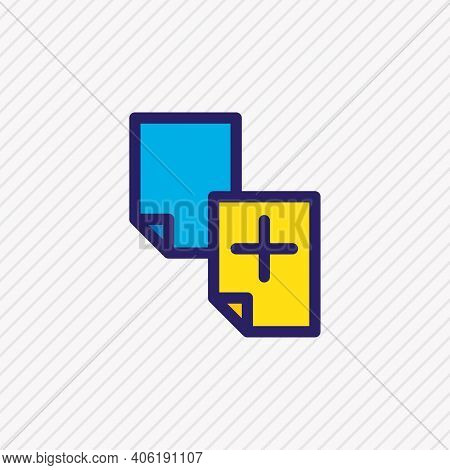 Vector Illustration Of Duplicate Content Icon Colored Line. Beautiful Advertising Element Also Can B
