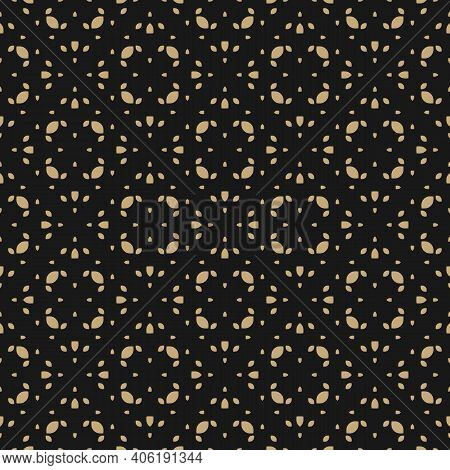 Golden Vector Seamless Pattern In Arabian Style. Gold And Black Minimalist Geometric Ornament, Abstr