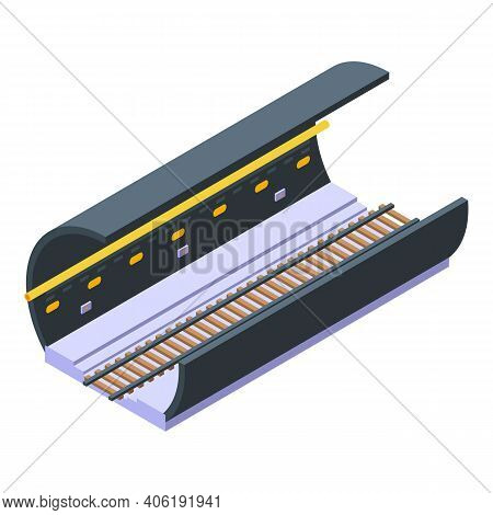 Railroad Tunnel Section Icon. Isometric Of Railroad Tunnel Section Vector Icon For Web Design Isolat