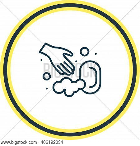 Vector Illustration Of Washing Hands With Soap Icon Line. Beautiful Wc Element Also Can Be Used As C