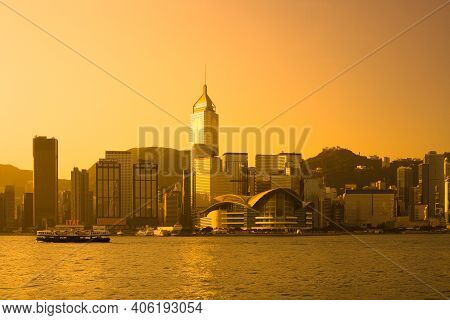 Victoria Harbour, Hong Kong Island, Hong Kong, China, Asia - November 12, 2008: Skyline Of Skyscrape