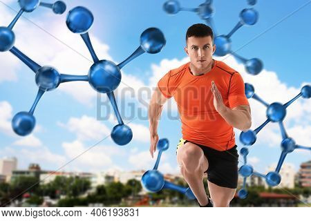 Metabolism Concept. Molecular Chain Illustration And Athletic Young Man Running Outdoors On Sunny Da