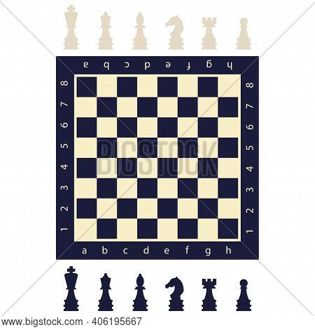 Black And White Chess Pieces And A Board. Vector Flat Game Figures Icons Isolated On Background.