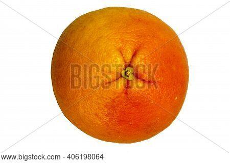 Close Up Of Grapefruit On White Isolated Background. Bright Orange Citrus, Fresh Summer Mood. Stock