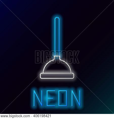Glowing Neon Line Rubber Plunger With Wooden Handle For Pipe Cleaning Icon Isolated On Black Backgro