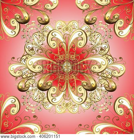 Classic Vintage Background. Seamless Classic Vector Golden Pattern. Traditional Orient Ornament. Sea