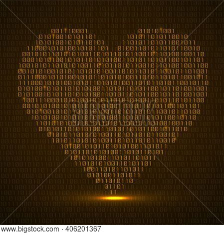 Abstract Glowing Heart Of Binary Code. Digital Love, Technology Symbol