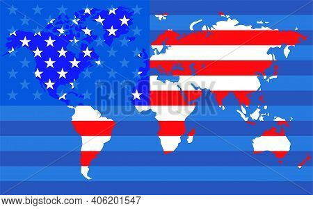 World Map With Flag United States Of America