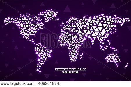 Abstract Geometric World Map With Glowing Triangles. Triangular Neon Background