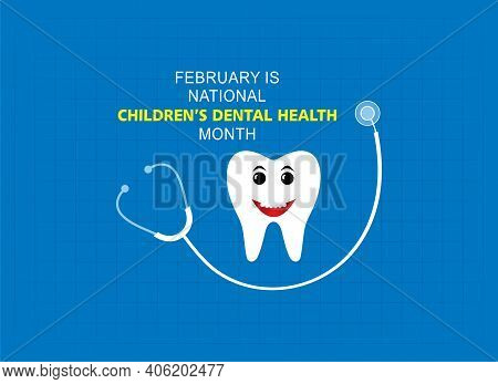 Vector Illustration Of National Children's Dental Health Observed In Month Of February.