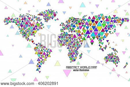 Abstract Colorful Geometric World Map With Triangles. Triangular Background. Vector